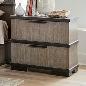 Gray and Black 2-Drawer Nightstand