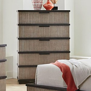 Gray and Black 5-Drawer Chest