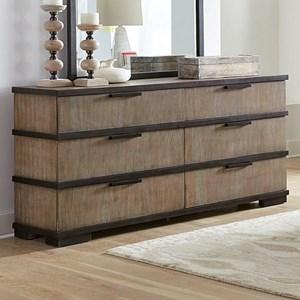 Gray and Black 6-Drawer Dresser