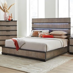 Contemporary King Platform Bed with Headboard Lighting