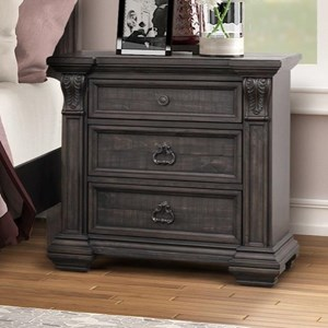 Traditional 3-Drawer Nightstand in Dark Brown