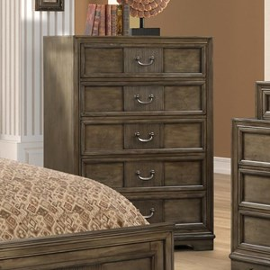 Traditional 5-Drawer Chest in Grey Finish