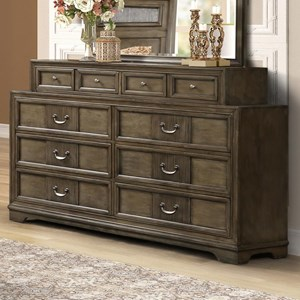Traditional 8-Drawer Dresser in Grey Finish