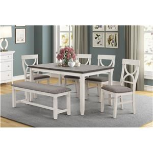 Dining Table, 4 Side Chairs and Bench