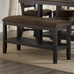 Upholstered Pub Bench with a Shelf
