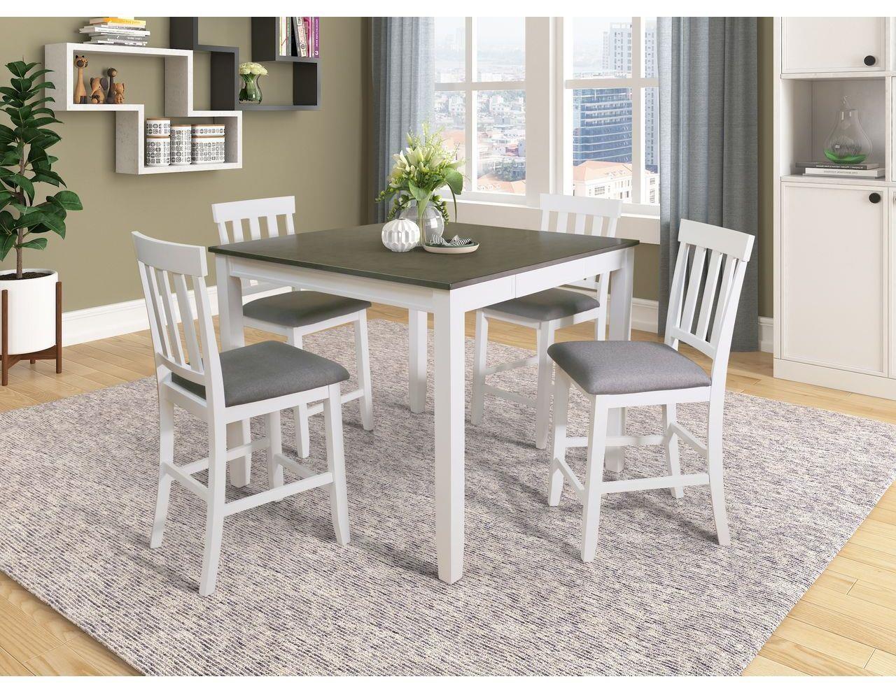 8652P WHITE/ GREY PUB TABLE X 4 STOOLS by Lifestyle at Furniture Fair - North Carolina