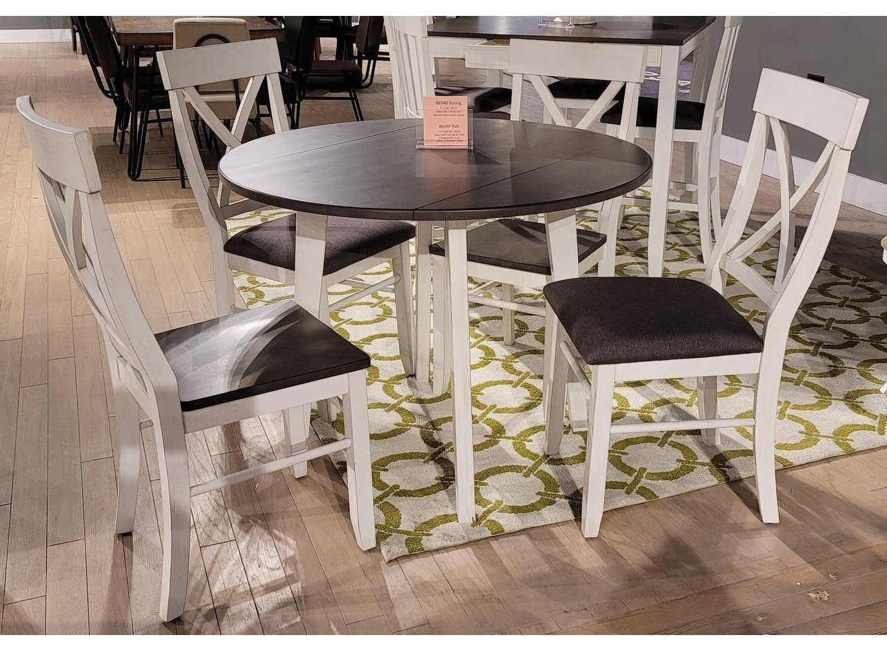 8654D Round drop leaf table x 2 chairs by Lifestyle at Furniture Fair - North Carolina