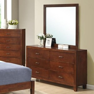 Dresser With 6 Drawers and Contemporary Mirror