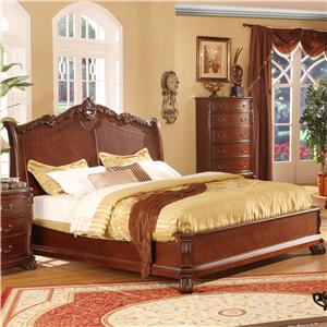 Lifestyle 9642 Queen Cherry Panel Bed
