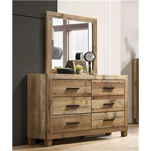 Natural Finish Dresser and Mirror