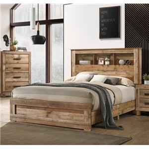 Natural Finish Queen Storage Bed