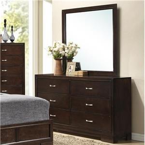 6 Drawer Dresser and Framed Dressing Mirror