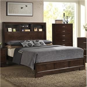 Contemporary Queen Bookcase Bed with 4 Shelves