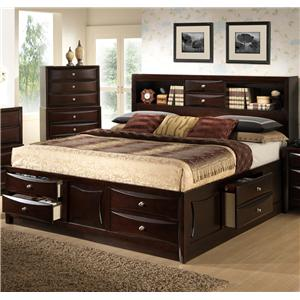 King Storage Bed w/ Bookcase Headboard