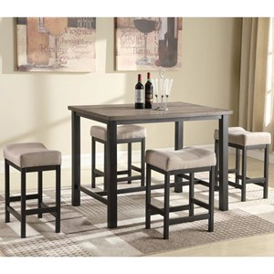 Counter Height Pub Table with 4 Backless Stools
