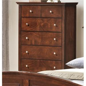 Transitional Five Drawer Chest with Tall Block Legs