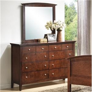 Transitional Eight Drawer Dresser and Vertical Mirror Set