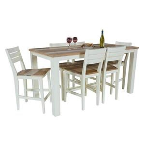 7PC Two-Tone Pub Dining Set w/ 6 Chairs