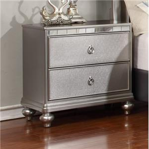 Metallic Finished Night Stand with Full Extension Drawer Glides
