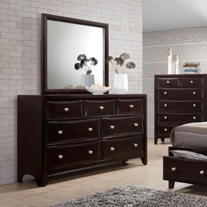 7 Drawer Dresser & Mirror with Wood Frame