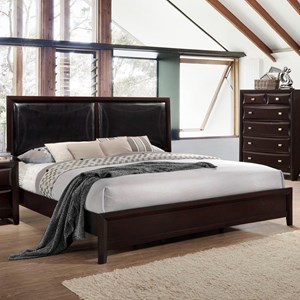 King Platform Bed with Upholstered Headboard