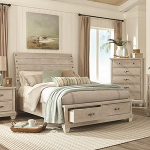 Rustic King Sleigh Bed with Storage Footboard