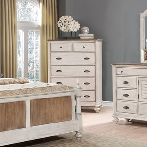 Two-Tone Chest of Drawers with Bun Feet