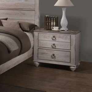Casual Two Drawer Nightstand with Distressed Finish