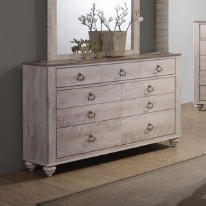 Casual Seven Drawer Dresser with Ring Hardware