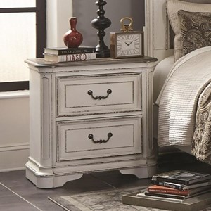 Relaxed Vintage Nightstand with Two Drawers