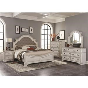 4PC Queen Bedroom Set w/ Upholstered Headboard