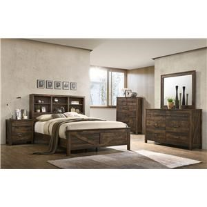 4PC Queen Bedroom Set w/ Bookcase Headboard