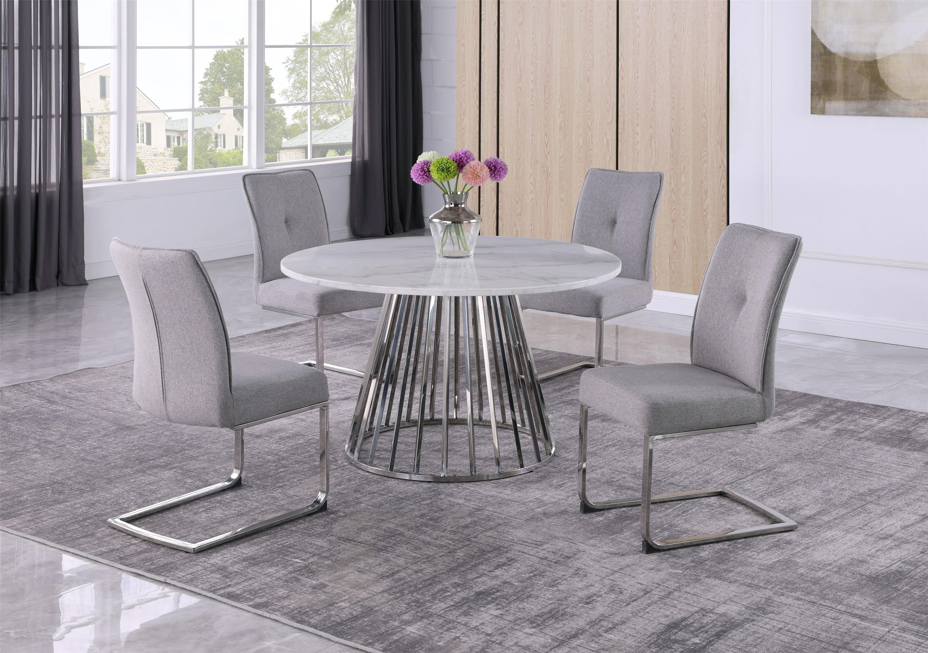 C8752 Marble & Stainless Steel Dining by Lifestyle at Baer's Furniture