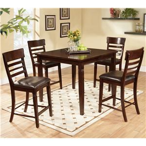 5 Piece Pub Table Set with Ladder Back Pub Chairs