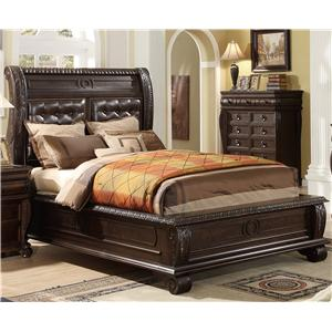 Queen Panel Bed w/ Upholstered Headboard
