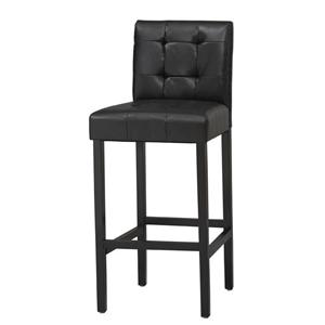 "Linon Bar and Counter Stools 24"" Bonded Leather Stool with Tufting"