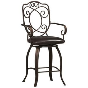 """Linon Bar and Counter Stools 24"""" Crested Back Counter Stool"""