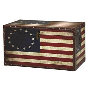 Linon Occasional Tables and Trunks Vintage American Flag Lift Top Coffee Table