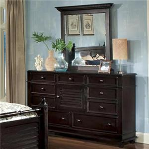 Linwood Furniture Villages of Gulf Breeze Triple Drawer Dresser with Vertical Mirror