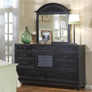 Linwood Furniture Villages of Gulf Breeze Triple Drawer Dresser with Landscape Mirror