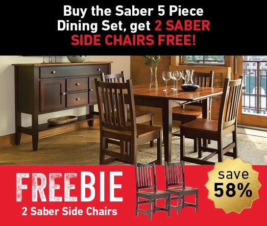 Saber Saber Dining Set with Freebie! at Morris Home