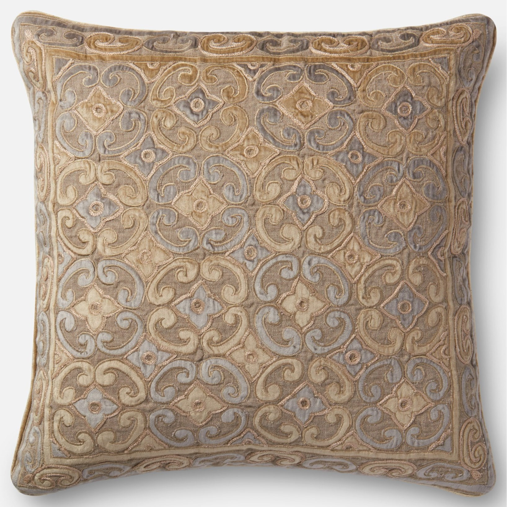 """Applique 22"""" X 22"""" Down Pillow by Loloi Rugs at Virginia Furniture Market"""