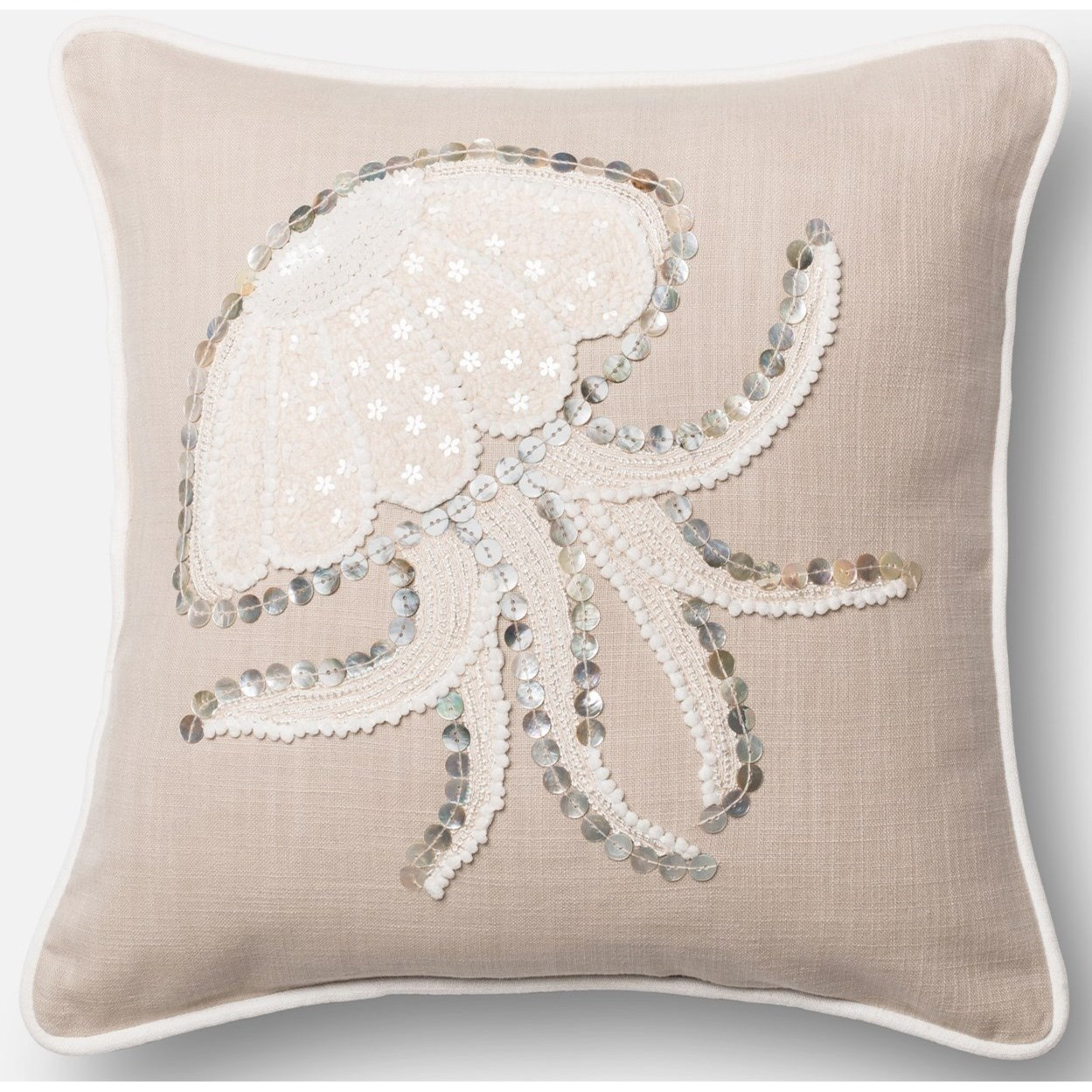 "Beaded 18"" X 18"" Down Pillow by Loloi Rugs at Virginia Furniture Market"