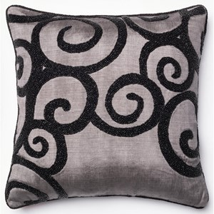 "Grey / Black 18"" X 18"" Polyester Pillow"