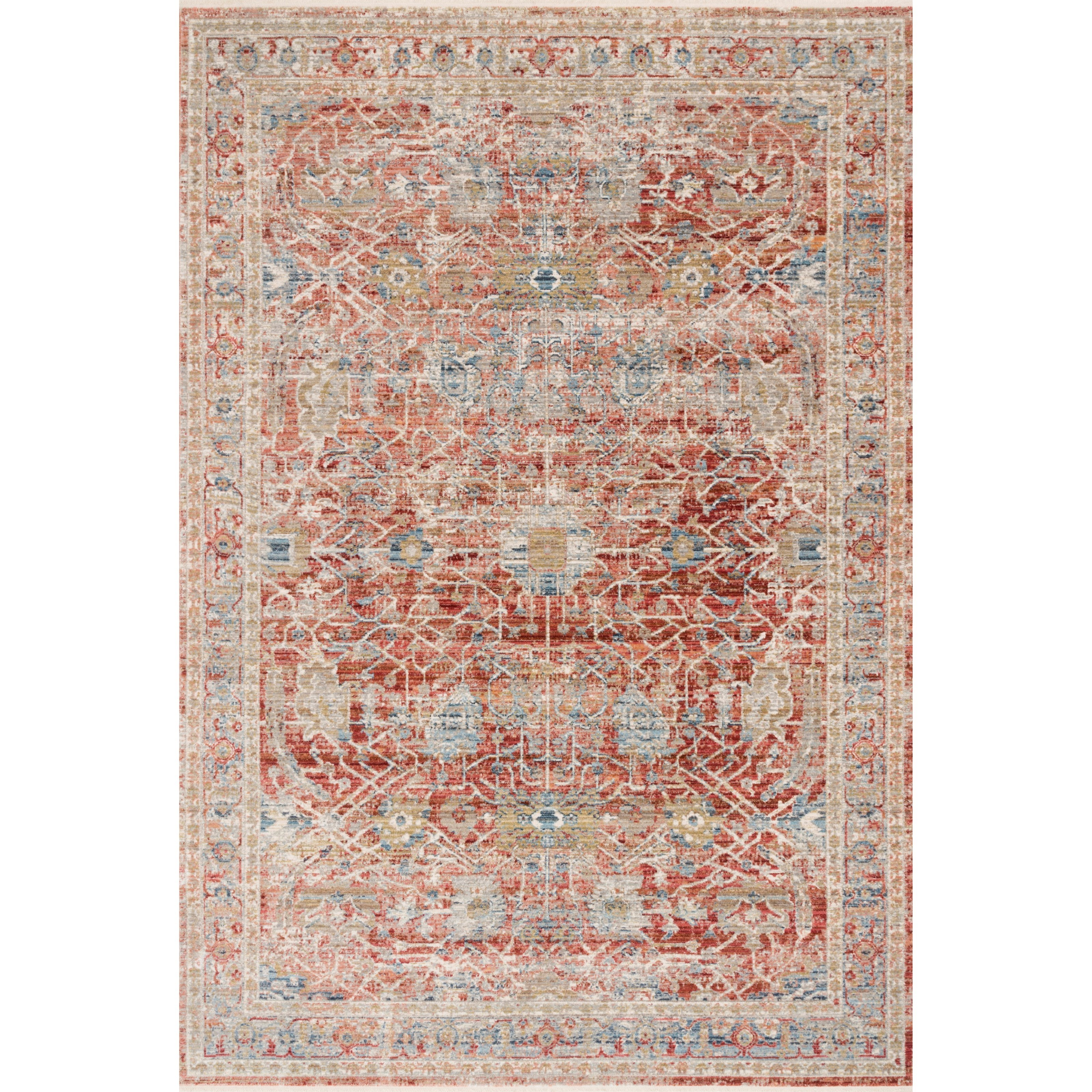 """Claire 5'3"""" x 7'9"""" Red / Ivory Rug by Loloi Rugs at Virginia Furniture Market"""