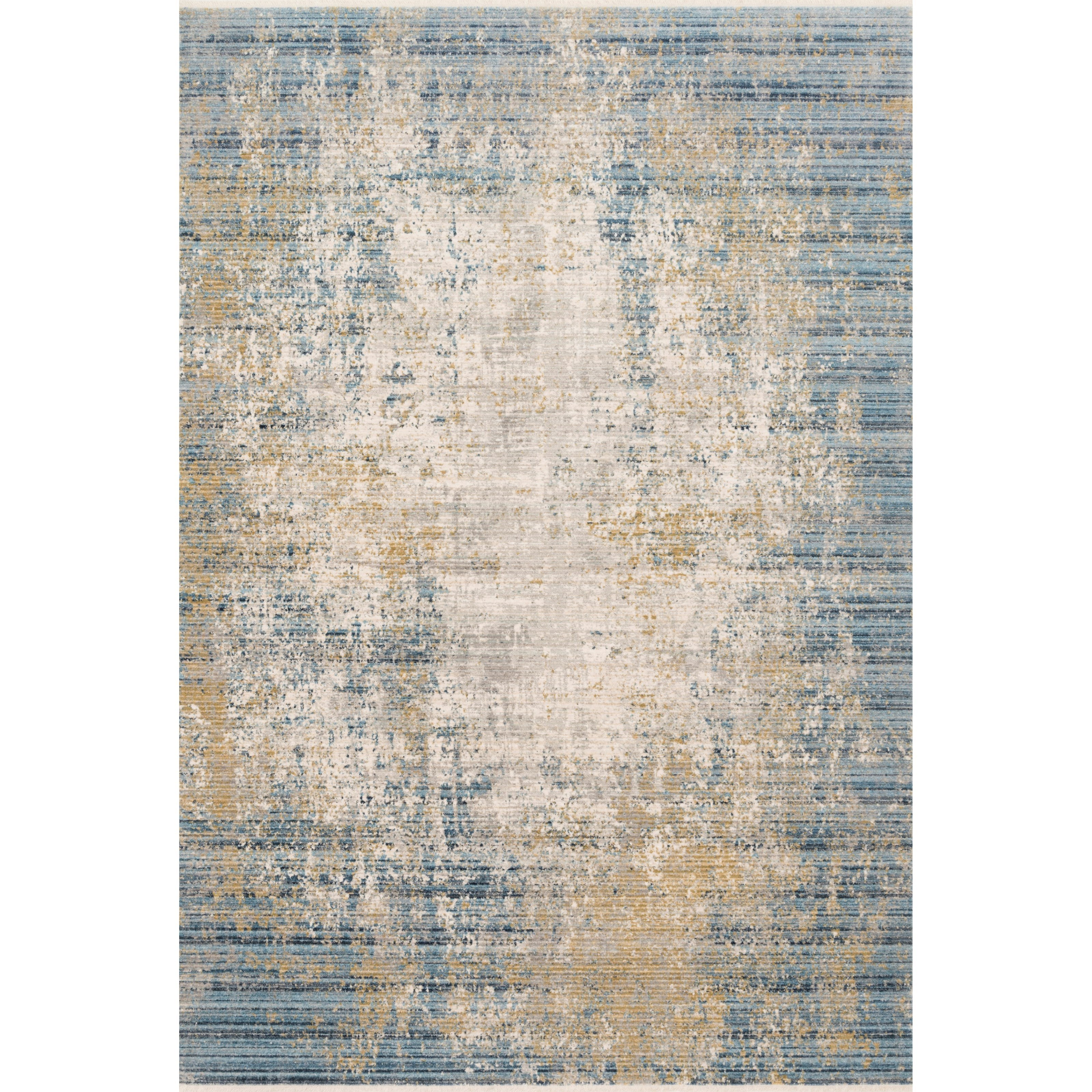 """Claire 5'3"""" x 7'9"""" Neutral / Sea Rug by Loloi Rugs at Virginia Furniture Market"""