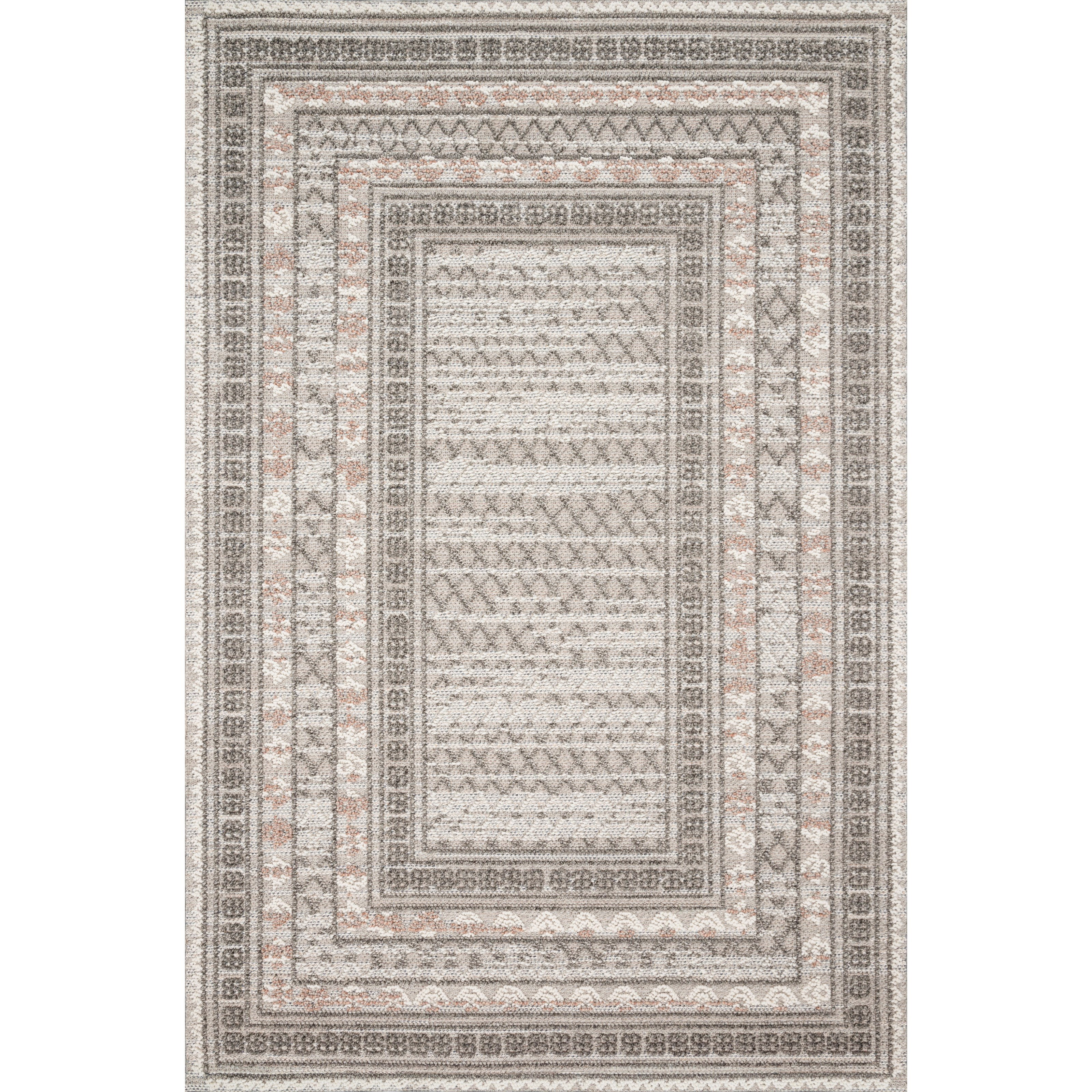 """Cole 4'0"""" x 5'9"""" Grey / Multi Rug by Loloi Rugs at Virginia Furniture Market"""