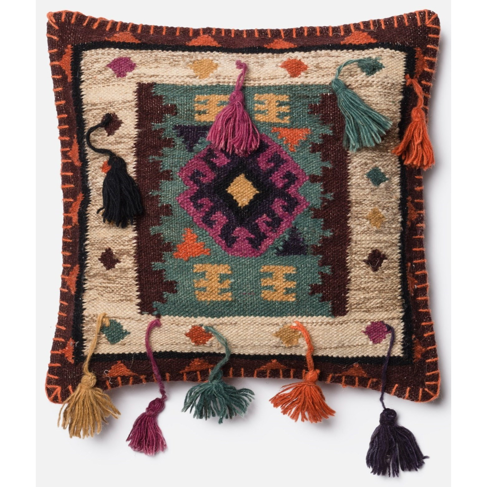 """Dhurri Style 18"""" X 18"""" Cover w/Poly by Loloi Rugs at Virginia Furniture Market"""