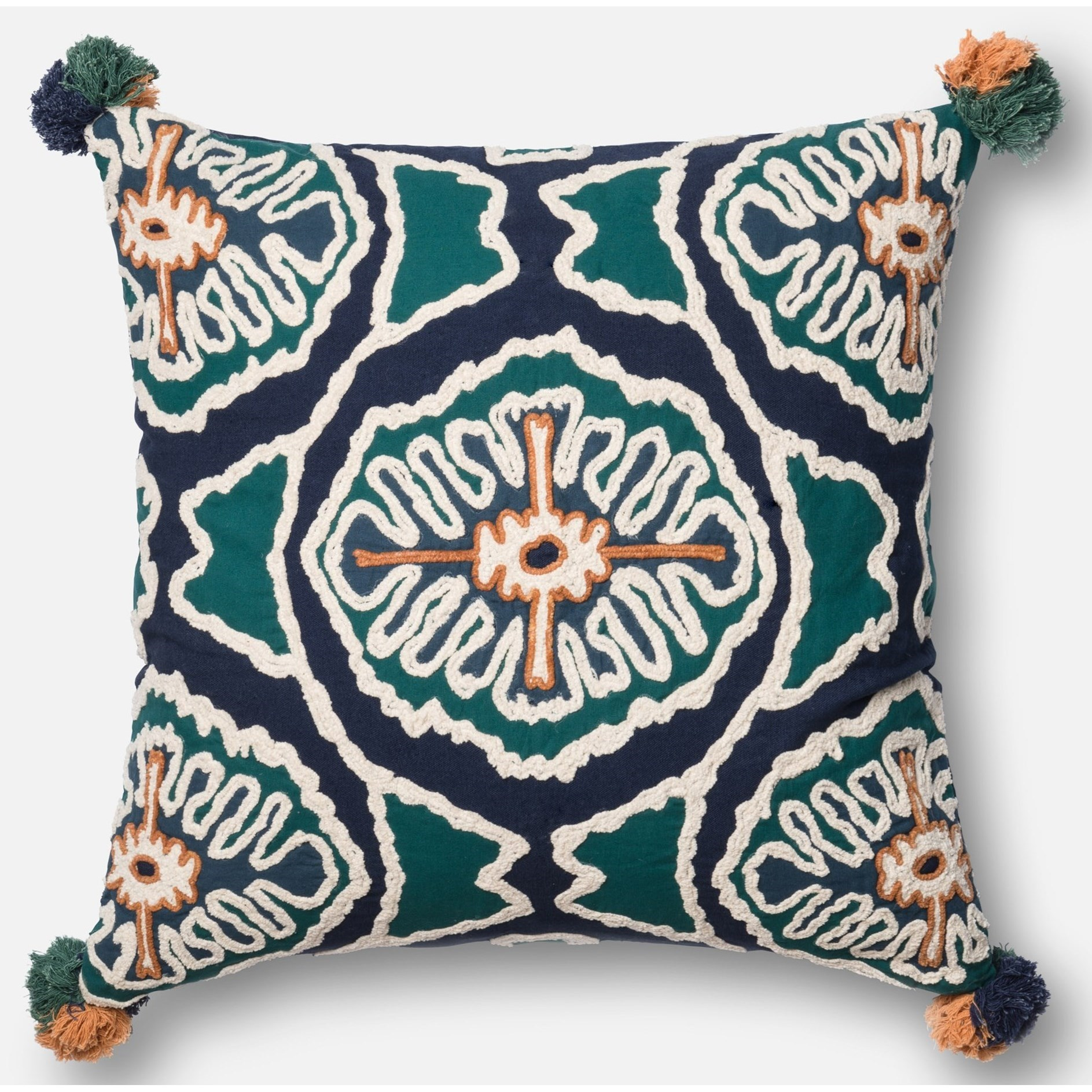 """Embroidery 22"""" X 22"""" Cover w/Poly by Loloi Rugs at Sprintz Furniture"""