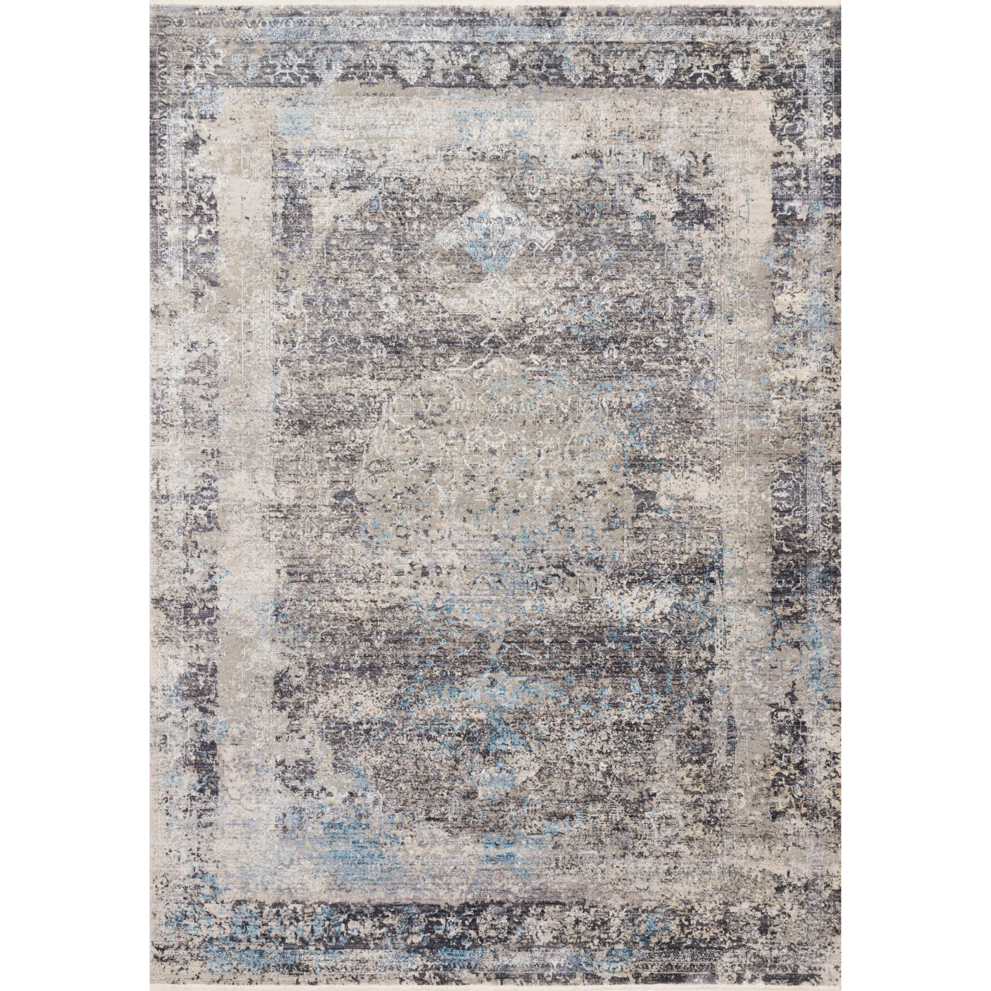 """Franca 2'7"""" x 8'0"""" Charcoal / Sky Rug by Loloi Rugs at Virginia Furniture Market"""